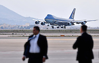 Pictured: Air Force One lands at the Eleftherios Venizelos Airport in Athens, Greece. Tuesday 15 November 2016<br /> Re: US President Barack Obama state visit to Greece