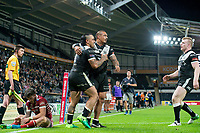 Picture by Allan McKenzie/SWpix.com - 08/09/2017 - Rugby League - Betfred Super League - The Super 8's - Hull FC v Wigan Warriors - KC Stadium, Kingston upon Hull, England - Hull FC's Mahe Fonua is congratulated by Sika Manu on his try against Wigan.