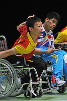 04.09.2012 Stratford, England. Kai Zhong of China in action during the Boccia Mixed Team BC1-2 on day 6 of the London 2012 Paralympic Games at the ExCel Centre.