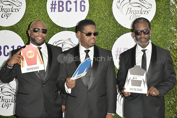 ARCADIA, CA - NOVEMBER 5: Wanya Morris, Nathan Morris, Shawn Stockman attend the 2016 Breeders' Cup World Championships at Santa Anita Race Track in Arcadia, California on November 5, 2016. Credit: Koi Sojer/Snap'N U Photos/MediaPunch