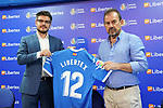 Getafe CF's President Angel Torres (r) with the CEO of the new Premium Plus Partner Libertex, Michael Geiger, during its official presentation.  August 9, 2019. (ALTERPHOTOS/Acero)