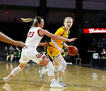 SIOUX FALLS, SD - MARCH 8: Raquel Terrer van Gool #33 of the North Dakota State Bison drives to the basket against Madison Nelson #23 of the Denver Pioneers at the 2020 Summit League Basketball Championship in Sioux Falls, SD. (Photo by Richard Carlson/Inertia)