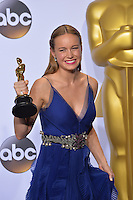 Brie Larson at the 88th Academy Awards at the Dolby Theatre, Hollywood.<br /> February 28, 2016  Los Angeles, CA<br /> Picture: Paul Smith / Featureflash