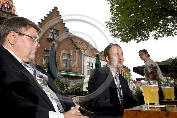 BRUGGE - BELGIUM - 02 JULY 2008 -- Pekka REINIKAINEN, Chief Communication Officer and Juhana KOSTAMO, Managing Director of PicoSun on a restaurant terrace in the Brugge city center. PicoSun a Finnish company is the world leader in ALD ( Atomic Layer Deposition) technology and research. -- PHOTO: Juha ROININEN / EUP-IMAGES.