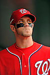 20 May 2012: Washington Nationals outfielder Bryce Harper stands in the dugout prior to a game against the Baltimore Orioles at Nationals Park in Washington, DC. The Nationals defeated the Orioles 9-3 to salvage the third game of their 3-game series. Mandatory Credit: Ed Wolfstein Photo