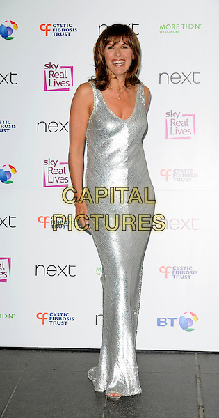CAROL SMILIE.Cystic Fibrosis Trust Breathing Life Awards 2008 at the Hilton Metropole Hotel, London, England..May 28th 2008 .full length silver dress sequined sequins long maxi .CAP/CAN.©Can Nguyen/Capital Pictures.