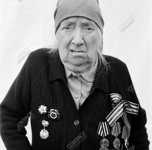 WWII veteran during Victory Day celebrations, Ekaterina Georgievna Salenko, b. 1922, Radio Operator, Infantry.