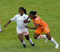 St Louis Athletica forward Enoila Aluko (9) and Sky Blue FC defender Anita Asante (5) battle for position during a WPS match at Anheuser-Busch Soccer Park, in St. Louis, MO, June 7, 2009. Athletica won the match 1-0.