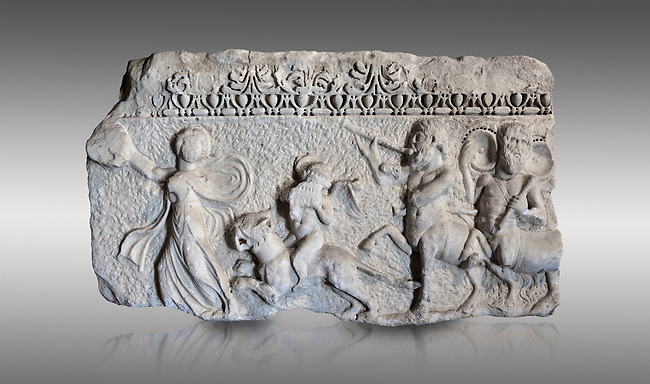 Roman relief sculpture of the Dionysus Festival. Roman 2nd century AD, Hierapolis Theatre.. Hierapolis Archaeology Museum, Turkey. Against a grey background