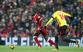 17th March 2018, Anfield, Liverpool, England; EPL Premier League football, Liverpool versus Watford; Sadio Mane of Liverpool takes on Abdoulaye Doucoure of Watford