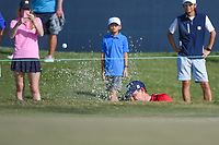 Bud Cauley (USA) hits from the trap on 18 during round 4 of the 2019 Houston Open, Golf Club of Houston, Houston, Texas, USA. 10/13/2019.<br /> Picture Ken Murray / Golffile.ie<br /> <br /> All photo usage must carry mandatory copyright credit (© Golffile | Ken Murray)
