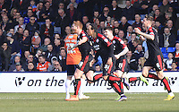 Matt Harrold of Crawley Town celebrates his opening goal during the Sky Bet League 2 match between Luton Town and Crawley Town at Kenilworth Road, Luton, England on 12 March 2016. Photo by Liam Smith.