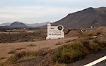 Sign for pre-Spanish Mahos village, Poblado de la Atalayita, Pozo Negro, Fuerteventura, Canary Islands, Spain
