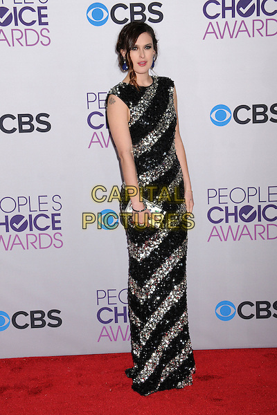 Rumer Willis.People's Choice Awards 2013 - Arrivals held at Nokia Theatre L.A. Live, Los Angeles, California, USA..January 9th, 2013.full length black silver stripes striped dress sequins sequined paillettes embellished jewel encrusted clutch bag .CAP/ADM/BP.©Byron Purvis/AdMedia/Capital Pictures.
