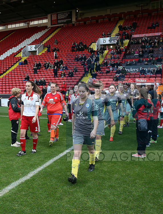 The Sheffield United Ladies team walk onto the pitch prior to kick off during the FA Women's Cup First Round match at Bramall Lane Stadium, Sheffield. Picture date: December 4th, 2016. Pic Clint Hughes/Sportimage