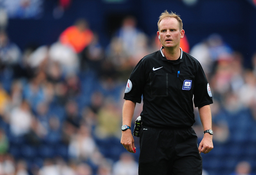 Referee Mark Brown<br /> <br /> Photographer Chris Vaughan/CameraSport<br /> <br /> Football - The Football League Sky Bet Championship - Preston North End v Ipswich Town - Saturday 22nd August 2015 - Deepdale - Preston<br /> <br /> &copy; CameraSport - 43 Linden Ave. Countesthorpe. Leicester. England. LE8 5PG - Tel: +44 (0) 116 277 4147 - admin@camerasport.com - www.camerasport.com