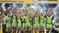 Northampton Saints captains Tom Wood and Dylan Hartley lift the Aviva Premiership trophy in celebration. Aviva Premiership Final, between Saracens and Northampton Saints on May 31, 2014 at Twickenham Stadium in London, England. Photo by: Patrick Khachfe / JMP