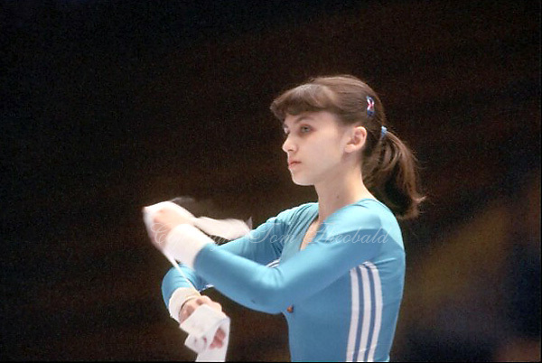 Natalia Yurchenko of Soviet Union prepares to perform on uneven bars at 1985 European Championships in women's artistic gymnastics at Helsinki, Finland in late April, 1985.  Photo by Tom Theobald.