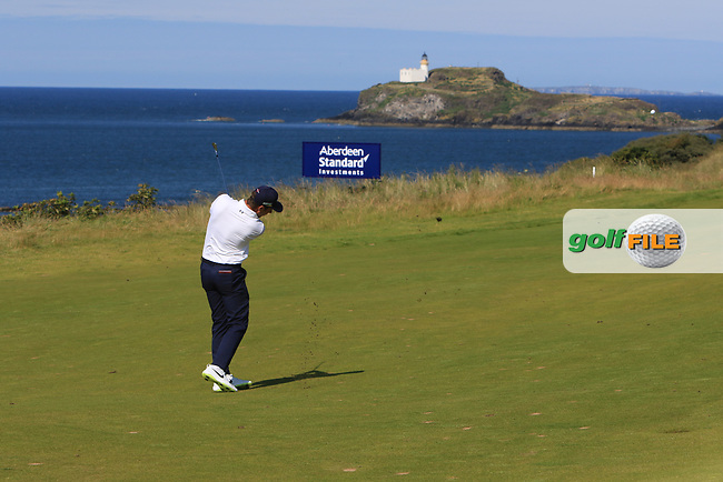 Nino Bertasio (ITA) on the 4th during Round 4 of the Aberdeen Standard Investments Scottish Open 2019 at The Renaissance Club, North Berwick, Scotland on Sunday 14th July 2019.<br /> Picture:  Thos Caffrey / Golffile<br /> <br /> All photos usage must carry mandatory copyright credit (© Golffile | Thos Caffrey)