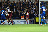 Jack Payne of Bradford City scores from the penalty and celebrates during AFC Wimbledon vs Bradford City, Sky Bet EFL League 1 Football at the Cherry Red Records Stadium on 2nd October 2018