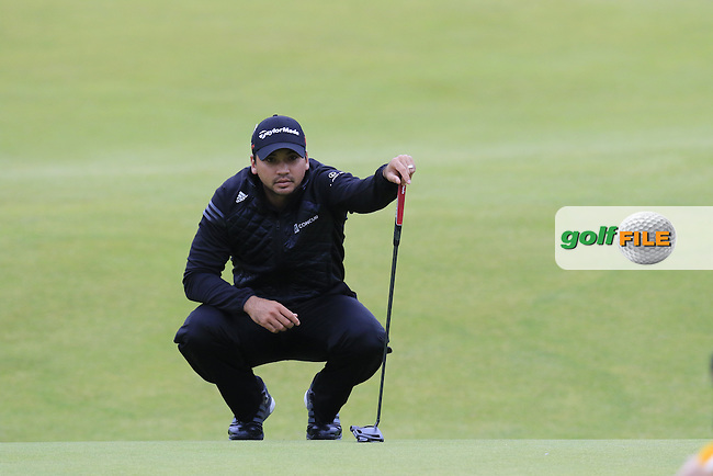 Jason DAY (AUS) lines up his putt on the 18th green during Monday's Final Round of the 144th Open Championship, St Andrews Old Course, St Andrews, Fife, Scotland. 20/07/2015.<br /> Picture Eoin Clarke, www.golffile.ie