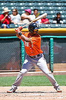 L.J. Hoes (28) of the Fresno Grizzlies at bat against the Salt Lake Bees in Pacific Coast League action at Smith's Ballpark on June 14, 2015 in Salt Lake City, Utah.  (Stephen Smith/Four Seam Images)