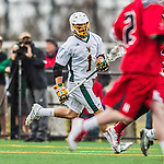18 April 2015:  University of Vermont Catamount Midfielder Karl Weller, a Sophomore from Stowe, VT, in action against the University of Hartford Hawks at Virtue Field in Burlington, Vermont. The Cats defeated the Hawks 14-11 in the final home game of the 2015 season. Mandatory Credit: Ed Wolfstein Photo *** RAW (NEF) Image File Available ***