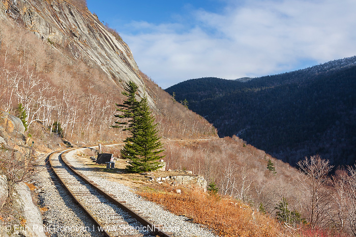 The site of the Mt. Willard Section House along the old Maine Central Railroad, next to the Willey Brook Trestle, in Crawford Notch State Park of New Hampshire. This section house, built in 1887, housed the section foreman and crew who maintained Section 139 of the railroad. From 1903-1942, the Hattie Evans family lived in the house. It was destroyed by fire in 1972.