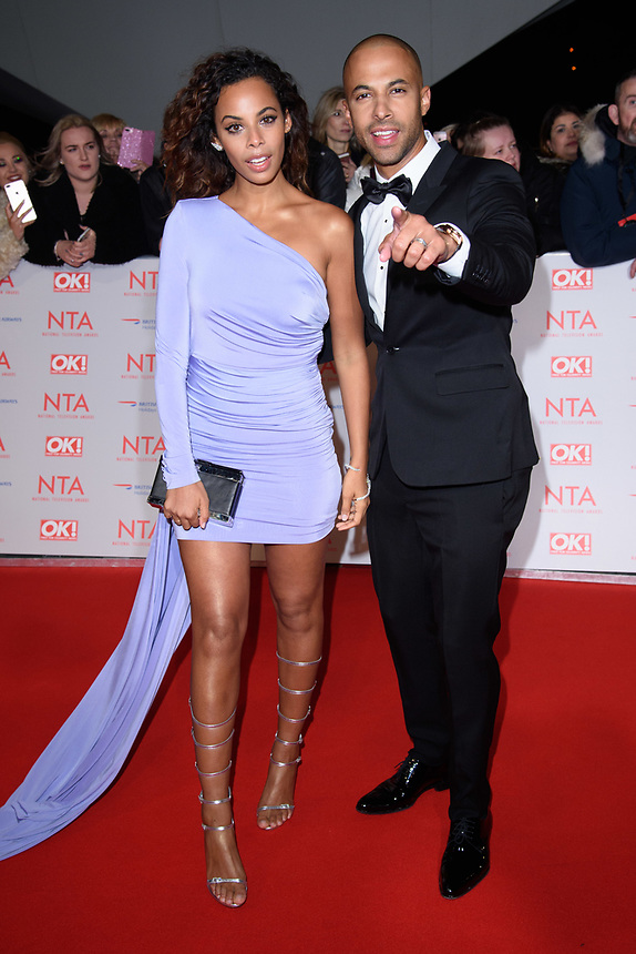 Rochelle and Marvin Humes<br /> arriving for the National Television Awards 2018 at the O2 Arena, Greenwich, London<br /> <br /> <br /> ©Ash Knotek  D3371  23/01/2018