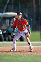 Jordan Thompson (24) during the WWBA World Championship at the Roger Dean Complex on October 13, 2019 in Jupiter, Florida.  Jordan Thompson attends Helix High School in Chula Vista, CA and is committed to Louisiana State.  (Mike Janes/Four Seam Images)
