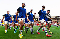 The Bath Rugby team make their way off the field. Gallagher Premiership match, between Bristol Bears and Bath Rugby on August 31, 2018 at Ashton Gate Stadium in Bristol, England. Photo by: Patrick Khachfe / Onside Images