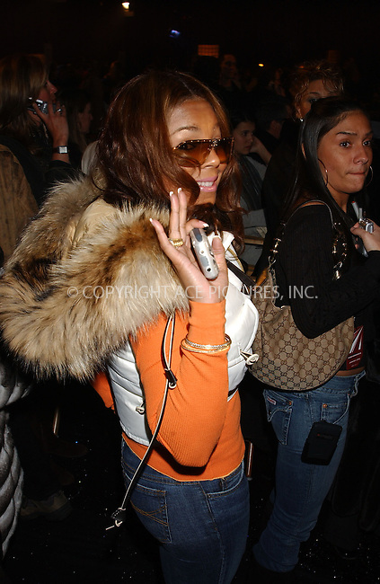 WWW.ACEPIXS.COM . . . . . ....NEW YORK, FEBRUARY 11, 2005....Ashanti at Jennifer Lopez's Sweetface Fall 2005 show at Olympus Fashion Week.  ....Please byline: KRISTIN CALLAHAN - ACE PICTURES.. . . . . . ..Ace Pictures, Inc:  ..Philip Vaughan (646) 769-0430..e-mail: info@acepixs.com..web: http://www.acepixs.com