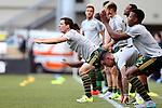 20 June 2015: Portland captain Will Johnson (CAN) (4) leads his teammates in pregame stretching exercise. The Portland Timbers FC hosted the Houston Dynamo at Providence Park in Portland, Oregon in a Major League Soccer 2015 regular season match. Portland won the game 2-0.