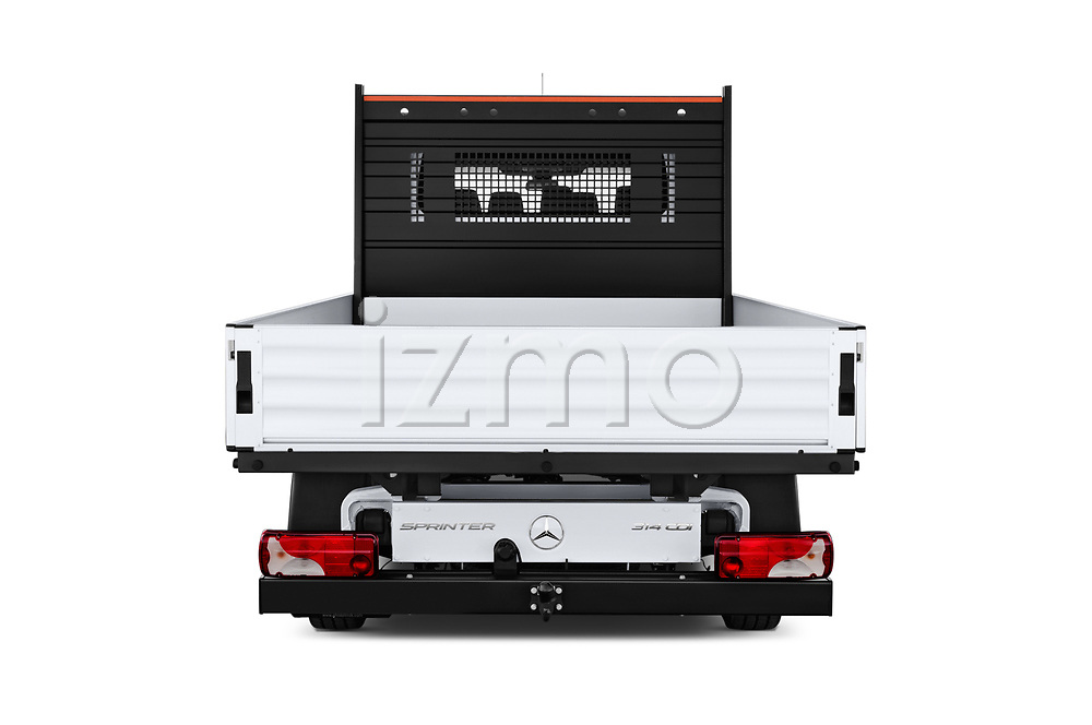 Straight rear view of a 2019 Mercedes Benz Sprinter DC Base 4 Door Pick Up stock images