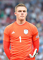 July 26, 2012..Britain's Jack Butland (1). Great Britain vs Senegal Football match during 2012 Olympic Games at Old Trafford in Manchester, England. Senegal held Great Britain to a 1-1 draw...(Credit Image: © Mo Khursheed/TFV Media)