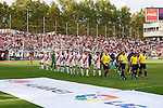 Rayo Vallecano´s players and Barcelona´s players before La Liga match between Rayo Vallecano and Barcelona at Vallecas stadium in Madrid, Spain. October 04, 2014. (ALTERPHOTOS/Victor Blanco)