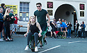 27/05/18<br /> <br /> John Greenough and Lotty Eaton.<br /> <br /> Competitors take part in a vomit-inducing wheelbarrow-race around a one mile course stopping at seven pubs where the driver and passenger each have to down a half-pint of beer before racing off around the old market town of Wirksworth in the Derbyshire Dales.<br /> <br /> All Rights Reserved F Stop Press Ltd. +44 (0)1335 344240 +44 (0)7765 242650  www.fstoppress.com