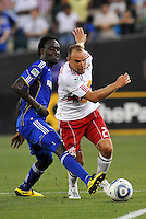 Joel Lindpere, Kei Kamara (blue)...Kansas City Wizards were defeated 3-0 by New York Red Bulls at Community America Ballpark, Kansas City, Kansas.