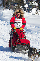 Jan Steves on Long Lake at the Re-Start of the 2012 Iditarod Sled Dog Race