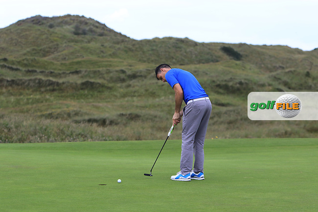 Paul Coughlan (Castleknock) on the 17th green during Round 2 of the North of Ireland Amateur Open Championship 2019 at Portstewart Golf Club, Portstewart, Co. Antrim on Tuesday 9th July 2019.<br /> Picture:  Thos Caffrey / Golffile<br /> <br /> All photos usage must carry mandatory copyright credit (© Golffile | Thos Caffrey)