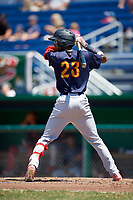 State College Spikes shortstop Delvin Perez (23) at bat during a game against the Batavia Muckdogs on July 8, 2018 at Dwyer Stadium in Batavia, New York.  Batavia defeated State College 8-3.  (Mike Janes/Four Seam Images)
