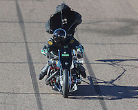 Feb 24, 2017; Chandler, AZ, USA; NHRA top fuel nitro Harley Davidson rider Tracy Kile during qualifying for the Arizona Nationals at Wild Horse Pass Motorsports Park. Mandatory Credit: Mark J. Rebilas-USA TODAY Sports
