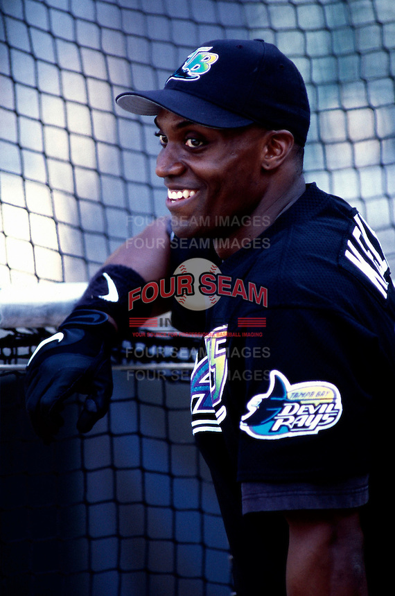 Mike Kelly of the Tampa Bay Devil Rays plays in a baseball game at Edison International Field during the 1998 season in Anaheim, California. (Larry Goren/Four Seam Images)