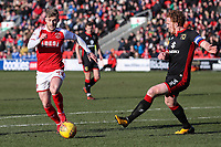 Conor McAleny of Fleetwood Town looks for a way past Dean Lewington of MK Dons during the Sky Bet League 1 match between Fleetwood Town and MK Dons at Highbury Stadium, Fleetwood, England on 24 February 2018. Photo by David Horn / PRiME Media Images