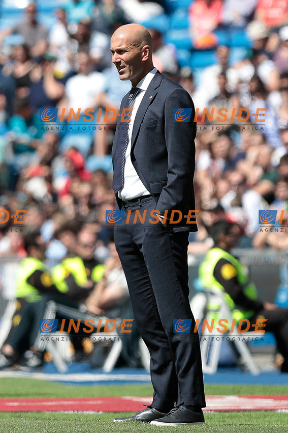 Real Madrid's coach Zinedine Zidane during La Liga match between Real Madrid and Villarreal CF at Santiago Bernabeu Stadium in Madrid, Spain. May 05, 2019. (ALTERPHOTOS/A. Perez Meca)<br /> Liga Campionato Spagna 2018/2019<br /> Foto Alterphotos / Insidefoto <br /> ITALY ONLY