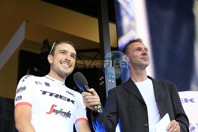John Degenkolb (GER) Trek-Segafredo team with MC Jens Voigt on stage at the Team Presentation in Burgplatz Dusseldorf before the 104th edition of the Tour de France 2017, Dusseldorf, Germany. 29th June 2017.<br /> Picture: Eoin Clarke | Cyclefile<br /> <br /> <br /> All photos usage must carry mandatory copyright credit (&copy; Cyclefile | Eoin Clarke)