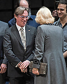Richard Thomas shares a few words with Camilla, the Duchess of Cornwall, wife of Britain's Prince Charles, as she greets the actors on stage during a visit to the Shakespeare Theatre Company at Sidney Harman Hall in Washington, D.C. on Wednesday, March 18, 2015.<br /> Credit: Ron Sachs / CNP