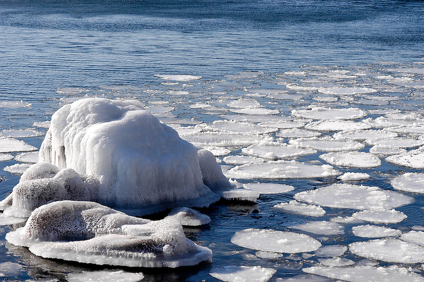 Ice pads along the North shore of Lake Superior at Cascade State Park near Lutsen Minnesota.