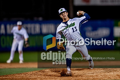 29 August 2019: Vermont Lake Monsters pitcher Austin Briggs on the mound against the Connecticut Tigers at Centennial Field in Burlington, Vermont. The Lake Monsters fell to the Tigers 6-2 in the first game of their NY Penn League double-header.  Mandatory Credit: Ed Wolfstein Photo *** RAW (NEF) Image File Available ***