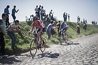 Jelle Wallays (BEL/Lotto-Soudal) leading the race<br /> <br /> 115th Paris-Roubaix 2017 (1.UWT)<br /> One Day Race: Compiègne › Roubaix (257km)